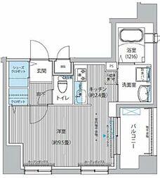 東急多摩川線 下丸子駅 徒歩4分の賃貸マンション 1階1Kの間取り