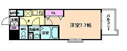 JR東西線 海老江駅 徒歩8分の賃貸マンション 8階1Kの間取り