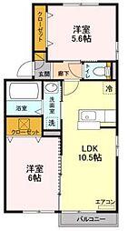 JR武蔵野線 新三郷駅 バス15分 彦川戸一丁目下車 徒歩5分の賃貸アパート 1階2LDKの間取り