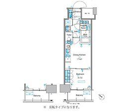 パークアクシス豊洲キャナル 13階1DKの間取り