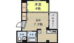 大阪府大阪市住吉区沢之町1丁目の賃貸マンションの間取り
