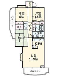 東京都板橋区大門の賃貸マンションの間取り