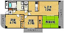 阪急千里線 下新庄駅 徒歩5分の賃貸マンション 8階3LDKの間取り