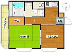 第2カメリアビル大澤[1階]の間取り