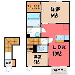 ソフィア桜 B 2階2LDKの間取り