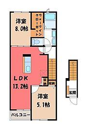 クオレッティ D 2階2LDKの間取り