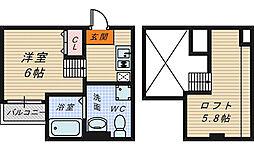 大阪府堺市堺区香ヶ丘町3丁の賃貸アパートの間取り
