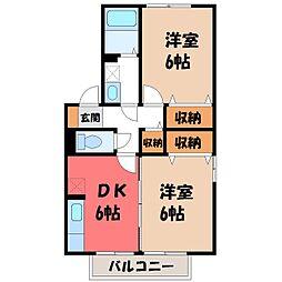 栃木県小山市城東6の賃貸アパートの間取り