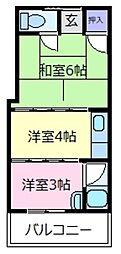 大阪府松原市阿保6の賃貸アパートの間取り