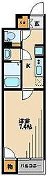 西武池袋線 東久留米駅 徒歩6分の賃貸アパート 1階1Kの間取り