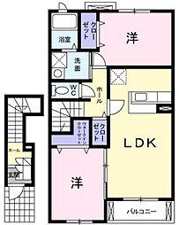 静岡県静岡市駿河区中村町の賃貸アパートの間取り