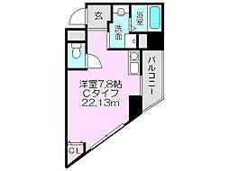 ラ・メゾヌーヴ 8階ワンルームの間取り