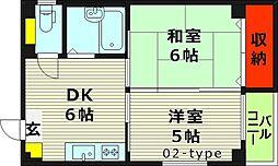 ネクスト高倉 4階2DKの間取り
