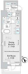 ライオンズフォーシア築地ステーション 3階1DKの間取り