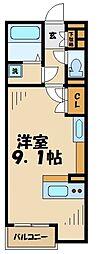 JR横浜線 八王子みなみ野駅 徒歩11分の賃貸アパート 1階ワンルームの間取り