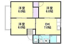 ファミリーハウス北畝 A[1階]の間取り