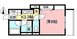 中央林間6丁目ホテルライクマンション(仮) 2階1Kの間取り