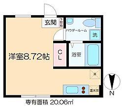 ラフォート菊川 4階ワンルームの間取り