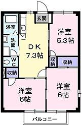 JR五日市線 武蔵五日市駅 徒歩12分の賃貸アパート 2階3DKの間取り