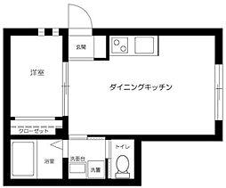 京王井の頭線 永福町駅 徒歩5分の賃貸アパート 1階1DKの間取り