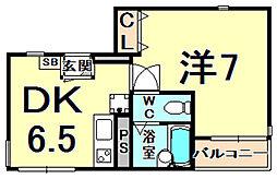 ユーコート鳴尾 3階1DKの間取り