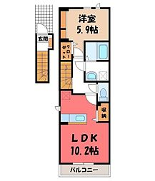 マーガレット 2階1LDKの間取り