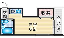 ルンルン江坂 5階1DKの間取り