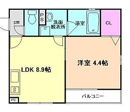阪急京都本線 南方駅 徒歩7分の賃貸マンション 2階1LDKの間取り