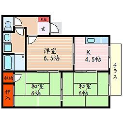 滋賀県彦根市中藪2丁目の賃貸アパートの間取り