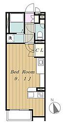京王相模原線 多摩境駅 徒歩16分の賃貸アパート 1階ワンルームの間取り