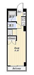 センチュリーハウス戸越 4階ワンルームの間取り