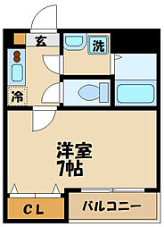 JR南武線 武蔵中原駅 徒歩1分の賃貸マンション 3階1Kの間取り