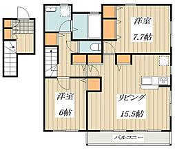 Casa Quattro 2階2LDKの間取り