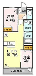 神奈川県横浜市青葉区市ケ尾町の賃貸アパートの間取り