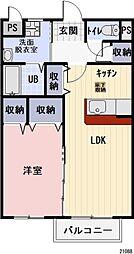 長野県塩尻市大字宗賀の賃貸アパートの間取り