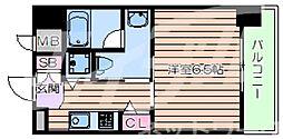 JR東西線 大阪城北詰駅 徒歩4分の賃貸マンション 3階1Kの間取り