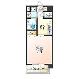 アール大阪リュクス 5階1DKの間取り