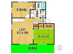 福岡県筑紫野市原田2の賃貸アパートの間取り