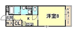 Casa Rokko 友田町 6階1Kの間取り
