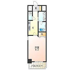 JR阪和線 津久野駅 徒歩7分の賃貸マンション 6階1Kの間取り