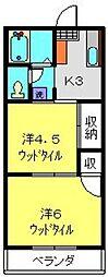 クリエール田中[102号室]の間取り