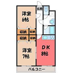 栃木県栃木市大宮町の賃貸マンションの間取り