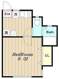 多摩都市モノレール 程久保駅 徒歩2分の賃貸アパート 1階1Kの間取り