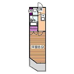メゾン白鷺 2階1Kの間取り