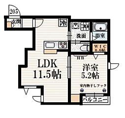 小田急小田原線 豪徳寺駅 徒歩4分の賃貸マンション 2階1LDKの間取り