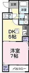 大阪府堺市東区日置荘田中町の賃貸アパートの間取り