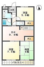 愛知県豊田市梅坪町2の賃貸マンションの間取り