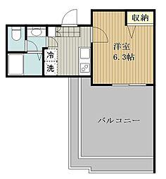 ピアコートTM大泉学園壱番館 4階1Kの間取り