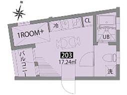 パティオ梅ヶ丘E 2階ワンルームの間取り