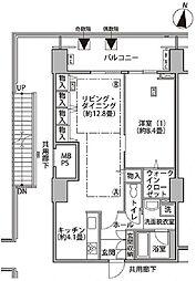 東雲キャナルコートCODAN17号棟 11階1LDKの間取り